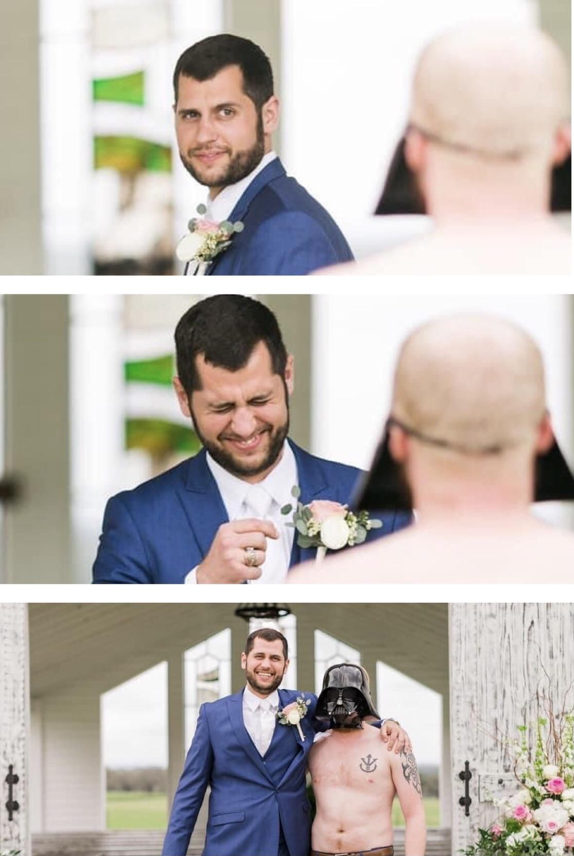 A friend from college got married last week and his wife sent the best man out for the first look. Here's his reaction: