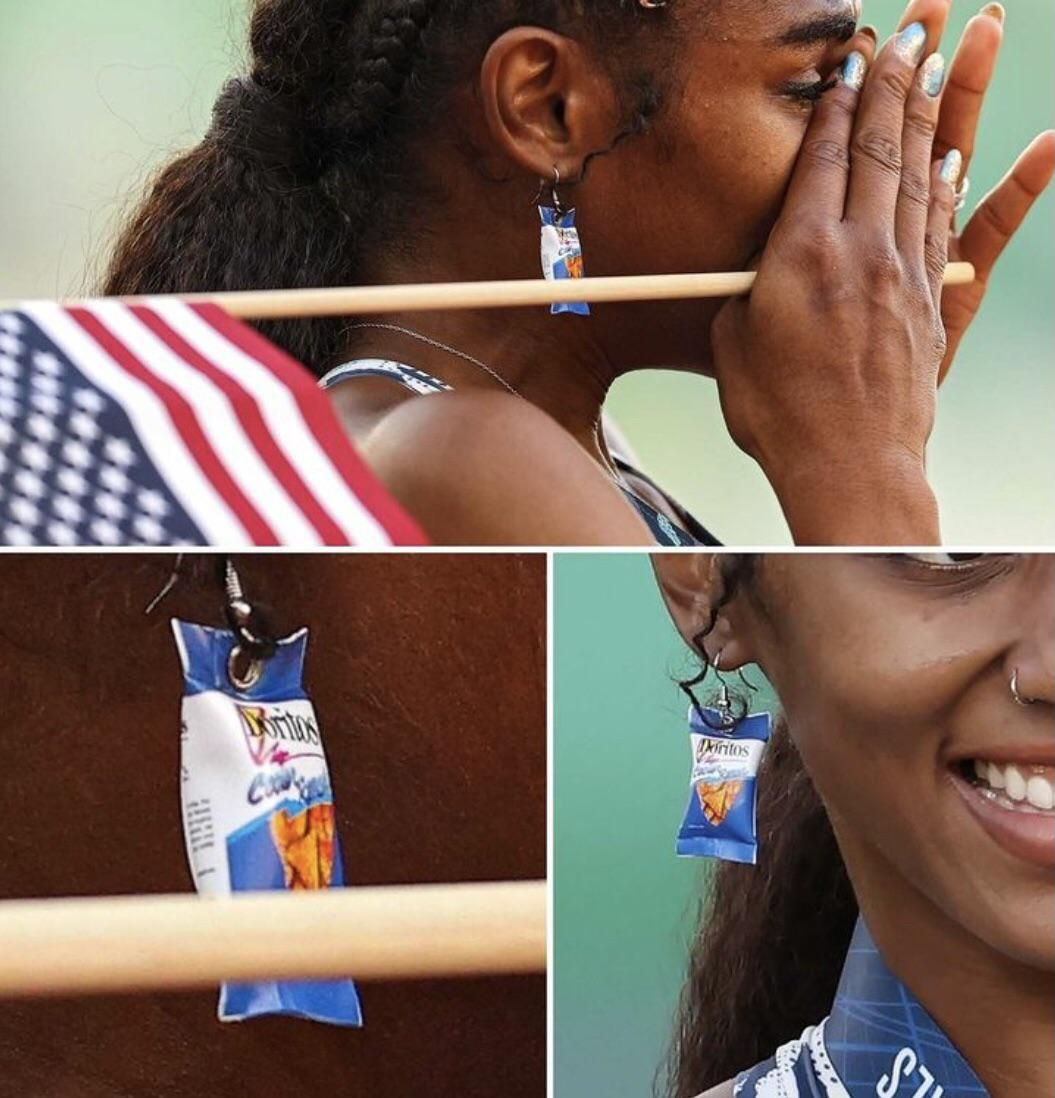 Christina Clemons qualified for the olympics wearing Cool Ranch Doritos earrings