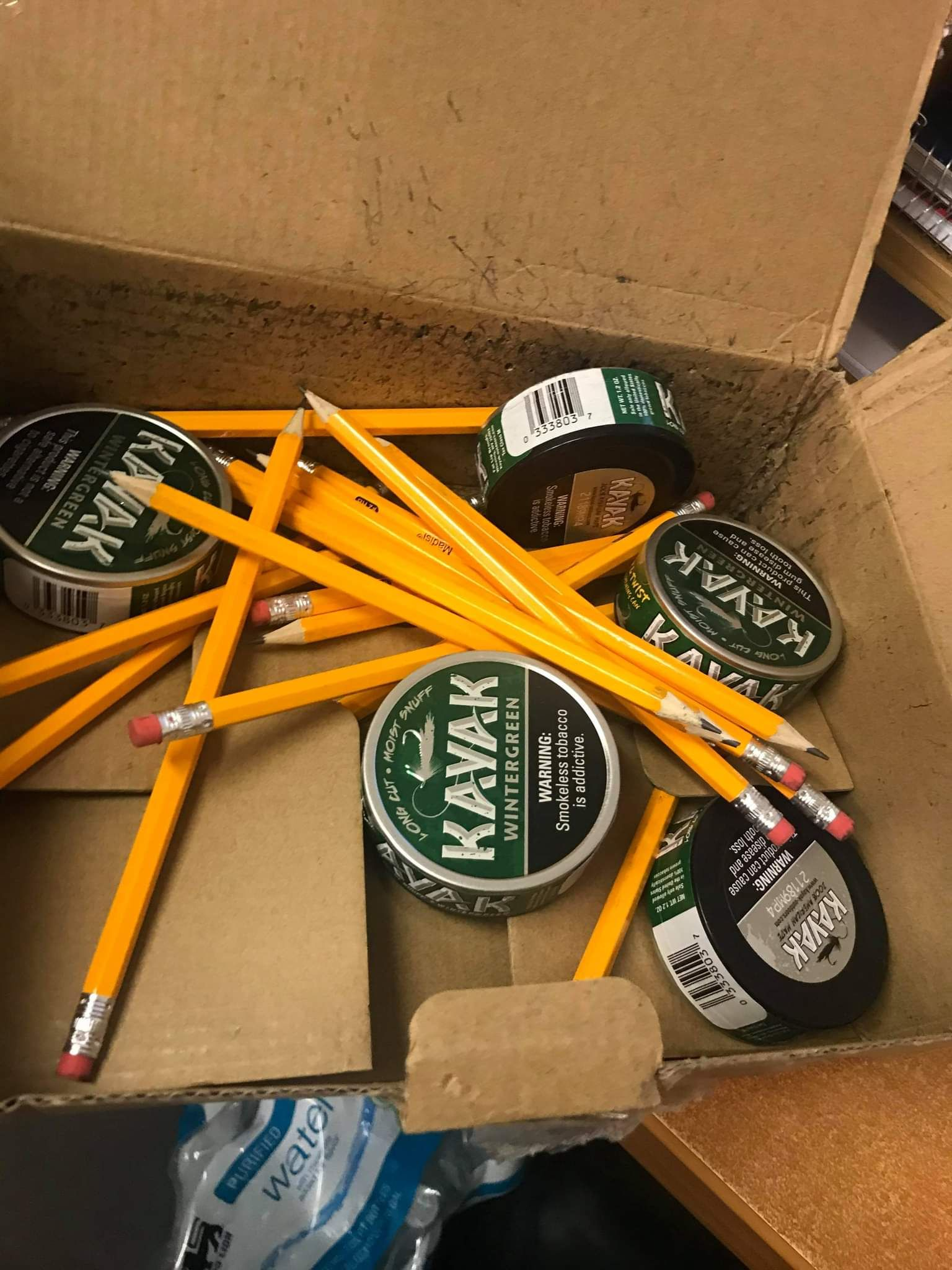 My wife ordered 360 pencils for her classroom from Amazon. I think she was sent some poor warehouse worker's secret stash.