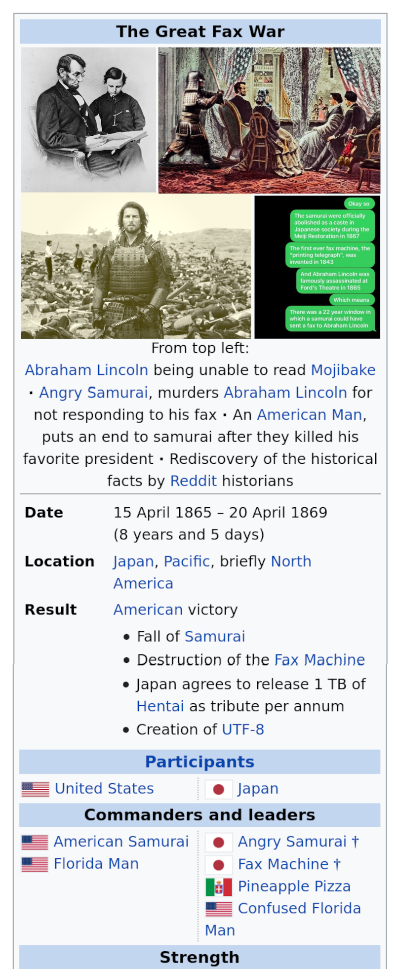 Wikipedia finally recognizes the greatest war ever happened, 1869
