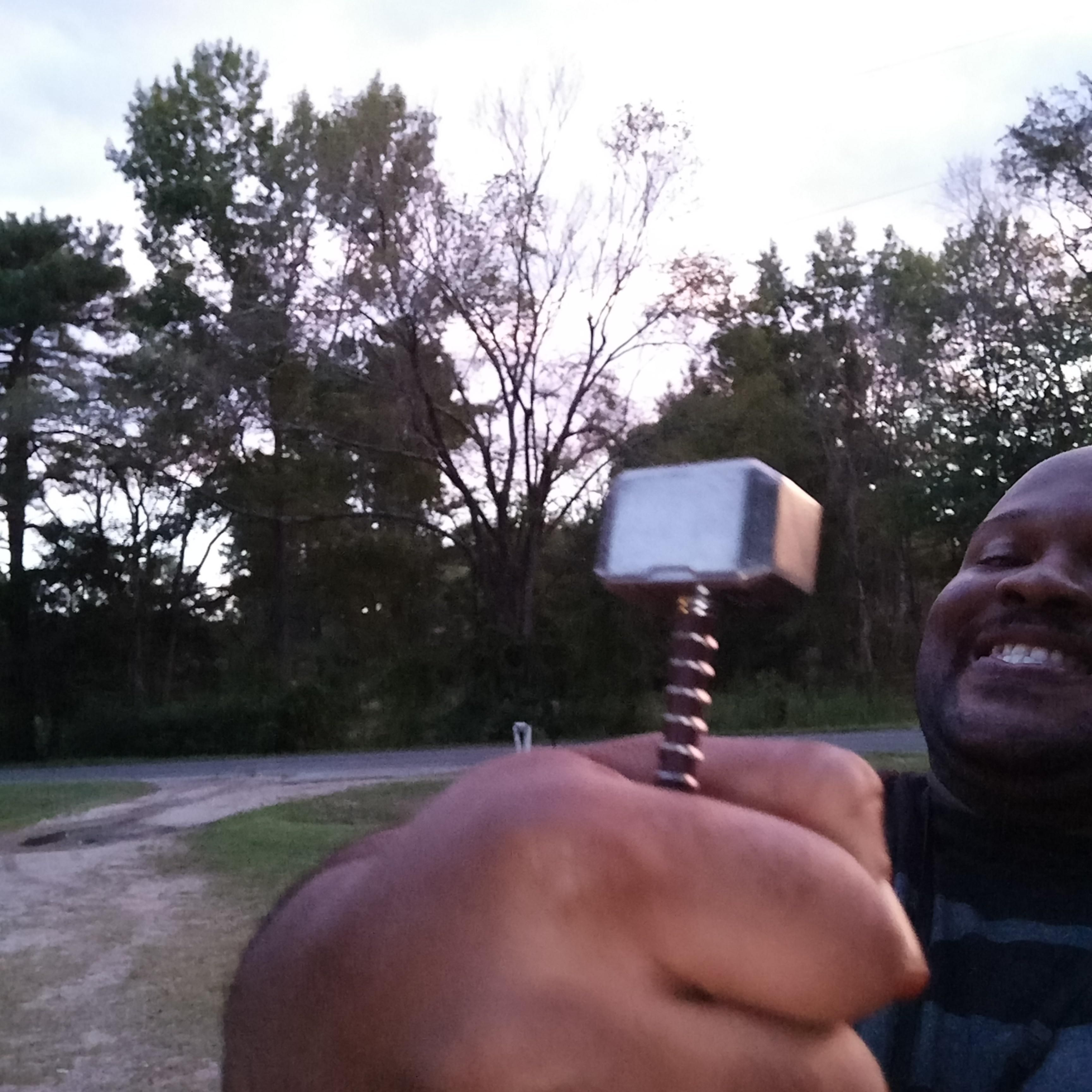 """My """"Full Sized"""" Mjolnir arrived. I'm still happy and I refused to let my moment be ruined."""