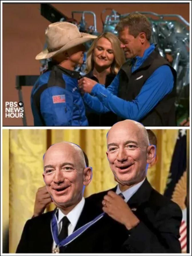 Blue origin gives a medal to Jeff Bezos for successful space flight