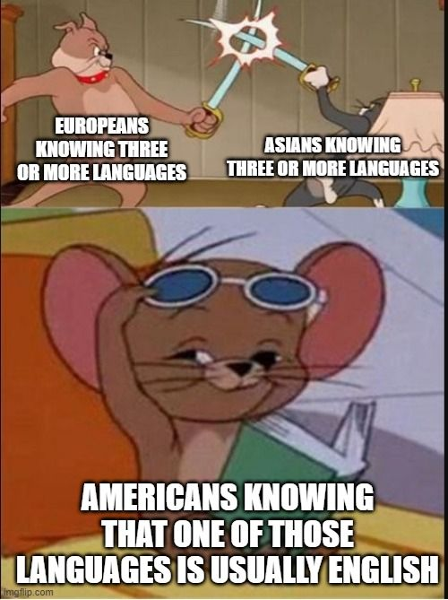 It isn't that we're too lazy to learn other languages, it's just unnecessary in even the most diverse cities here.