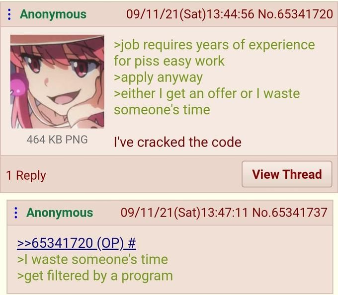 Anon applies for that pizza cashier/order job