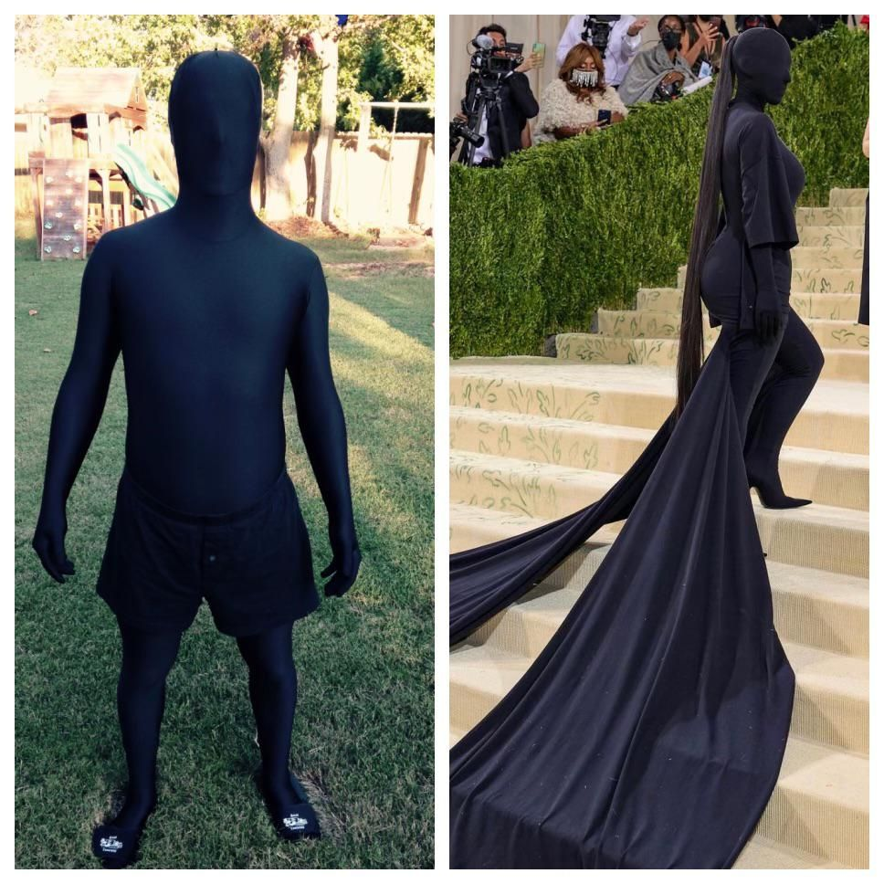 The is me, circa 2014, on the left. Kim Kardashian on the right, 2021. Who wore it better?