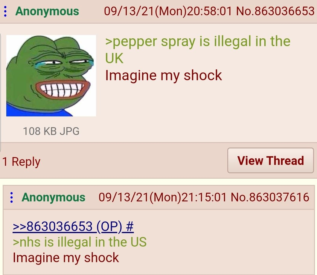 Imagine my shock? Shocks are also illegal in the UK