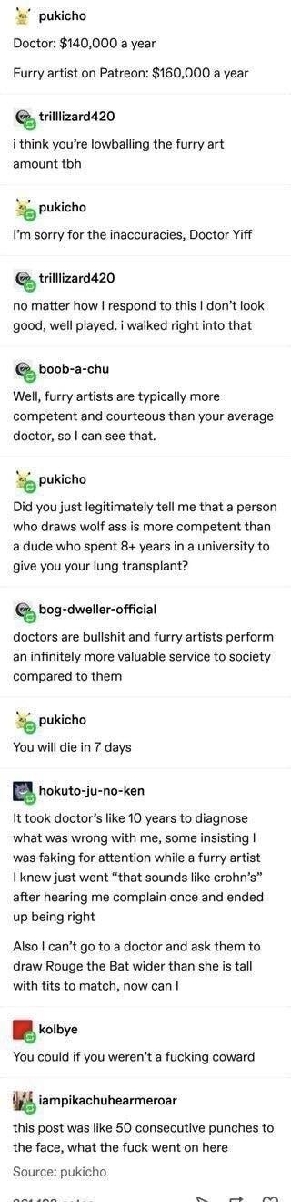 Furry artists > doctors