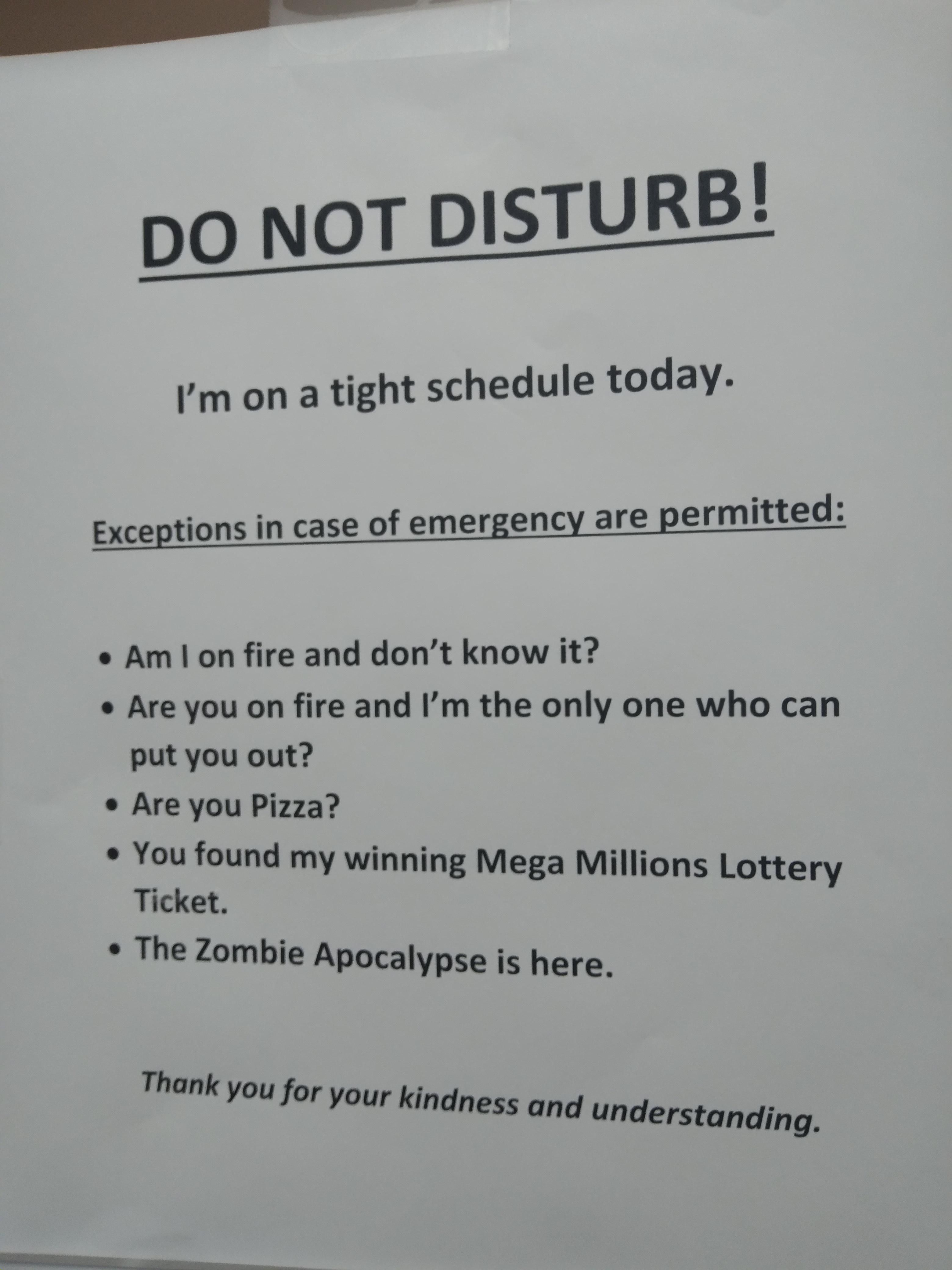 My campus had a bunch of staff leave found this on the HR door due to her doing 3 different jobs.