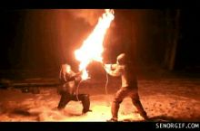 Fire swordfighting. My life is now complete.