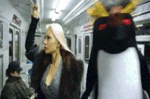 When i'm wearing a penguin costume on a train and get caught looking at the middle-aged women