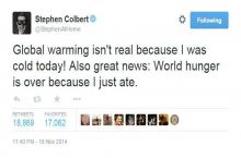 Stephen Colbert's thoughts on global warming.