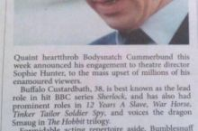 An Australian newspaper congratulates Benedict Cumberbatch on his engagement