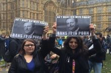 People protesting the British porn ban get a little personal with the PM's sex life.