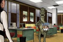 No one likes the new velociraptor at the office .. I wonder why he is quite friendly