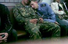 Asleep on the train