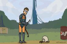 Gordon Freeman is having fun with his pet headcrab.