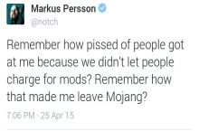 Notch's opinion on paid mods...