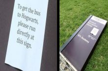 "So someone posted these ""to get to Hogwarts.."" signs around campus and..."