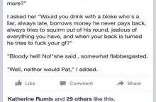 Pat was always honest