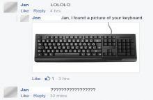 Jan giggles through her keyboard